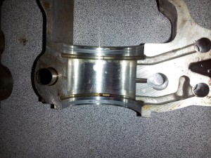 BMW N52 Camshaft Bearing Ledge showing grooving from a worn rectanguring