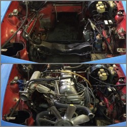 1970 Mercedes 280SL engine bay without engine and with engine installed.